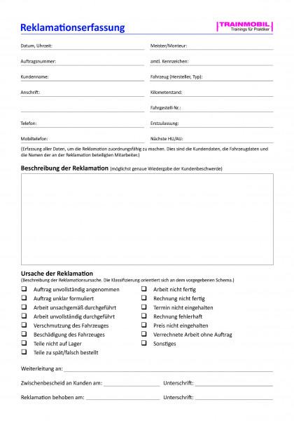 Checkliste Reklamationserfassung