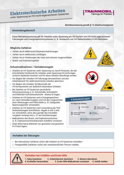 Formular BA Elektrotechnische Arbeiten unter Spannung