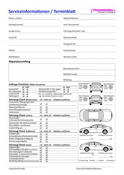 Checkliste Serviceinformationen / Terminblatt